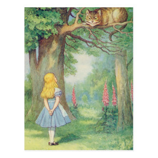 Postal Alicia y el gato de Cheshire