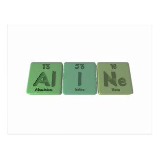 Postal Aline como neón de aluminio del yodo