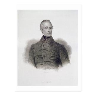 Postal Alphonse de Lamartine, grabado por Pedro Pelee (1