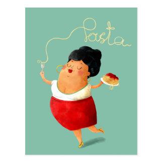 Postal Amante italiano de las pastas de los espaguetis