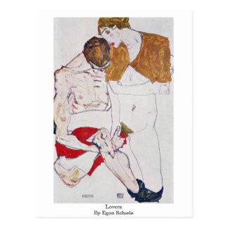Postal Amantes de Egon Schiele