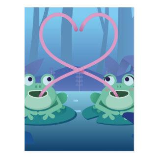 Postal amantes de la rana del día de San Valentín