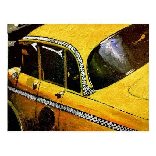 Postal amarilla del taxi