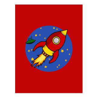 Postal amarilla roja de Rocket
