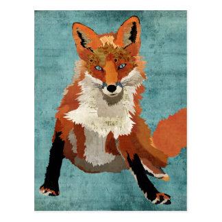 Postal ambarina del azul del Fox