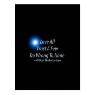 Postal Ame todos, confíe en algunos, perjudiqúelos a