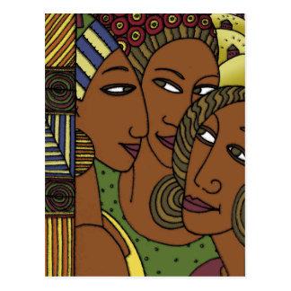 Postal Amigos afroamericanos de la hermana de las mujeres