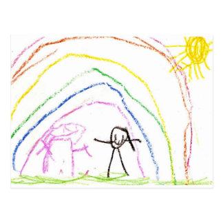 Postal Amigos de la sol del arco iris
