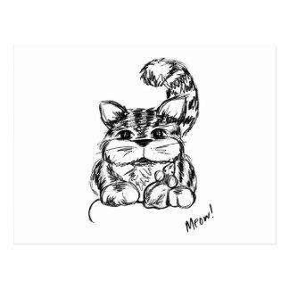 Postal Amigos inverosímiles gato y ratón