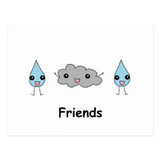 Postal Amigos lindos de la nube y de la gota de agua