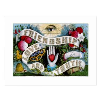 Postal Amistad, amor y verdad (1874)