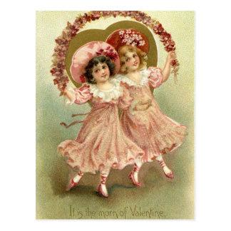 Postal Amistad rosada del el día de San Valentín del