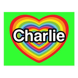 Postal Amo a Charlie: corazón del arco iris