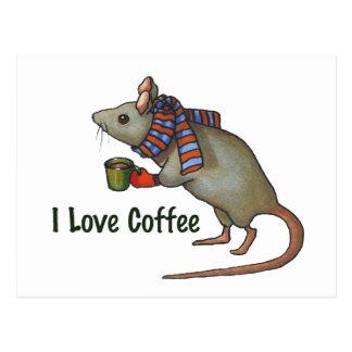 Postal Amo el café: Ratón: Arte a pulso original