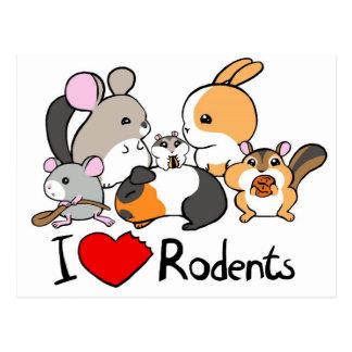 Postal Amo el dibujo animado lindo de los roedores