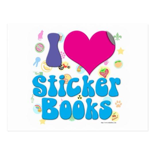 Postal ¡Amo los libros del pegatina!