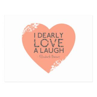 Postal Amo querido una risa - cita de Jane Austen