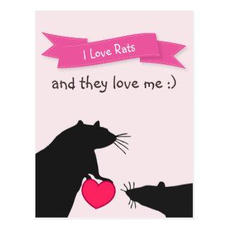 Postal Amo ratas y me aman