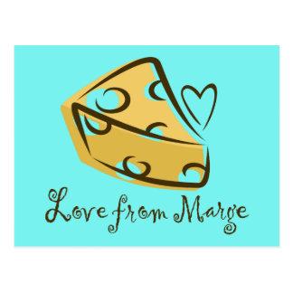 """Postal """"Amor amante divertido del queso de Marge"""""""