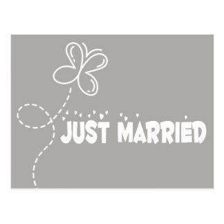 Postal Amor casado gris y del blanco apenas de la