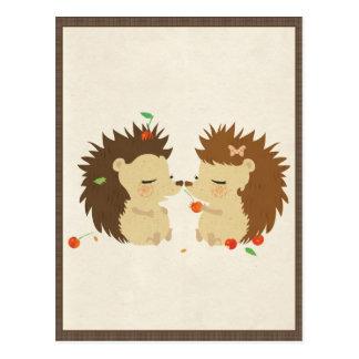 Postal Amor del erizo (postal de la mirada II)