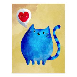 Postal Amor del gato azul del gatito