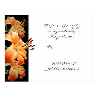 Postal Amor del lirio: Lirio anaranjado en negro