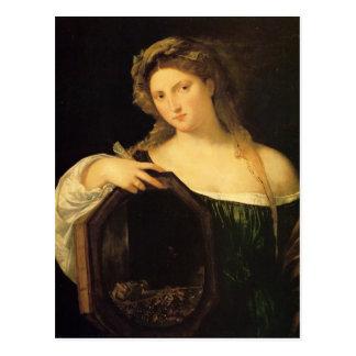 Postal Amor profano por Titian