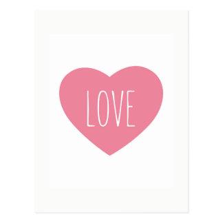 Postal Amor rosado precioso dulce del corazón