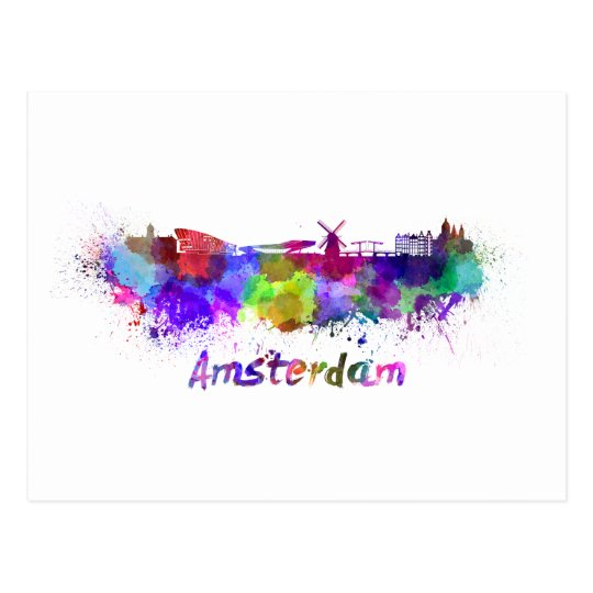 Postal Amsterdam skyline in watercolor