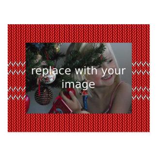 Postal Añada su propio suéter del navidad de la foto