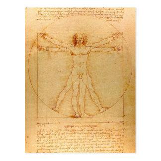 Postal Anatomía humana, hombre de Vitruvian de Leonardo