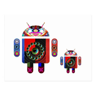 Postal Androide del papá y del bebé - Art101 por Navin