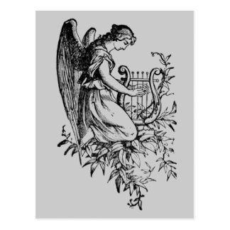 Postal Ángel con la arpa y la flora