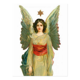 Postal Ángel con la estrella del oro