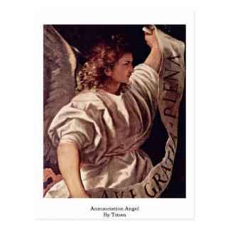 Postal Ángel del anuncio por Titian