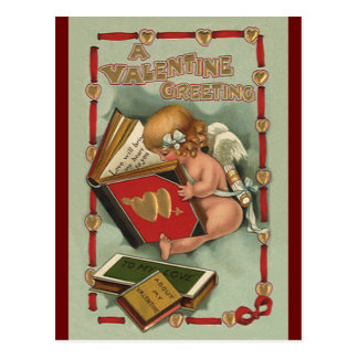 Postal Ángel del el día de San Valentín del vintage,
