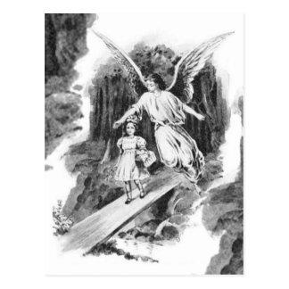 Postal Ángel que guarda a un niño del chica