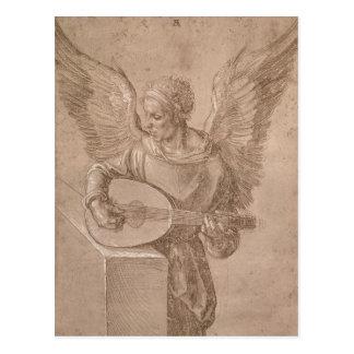 Postal Ángel que toca un laúd, 1491