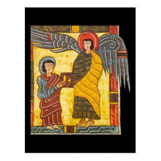 Postal Ángel y manuscrito iluminado de Juan Apocolypse 2