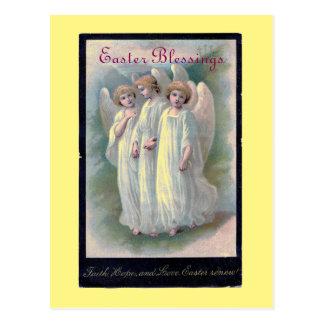 Postal Ángeles de las bendiciones de Pascua del vintage