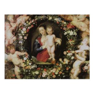 Postal Ángeles Madonna y bella arte de Rubens del niño