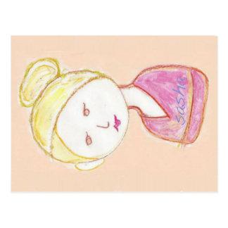Postal animada colorida del chica del espacio