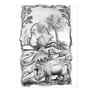 Postal animal de los ejemplos del vintage