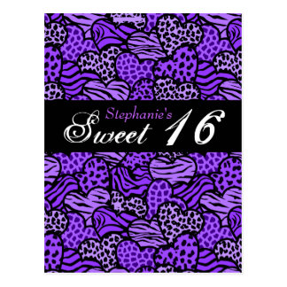 Postal animal púrpura del dulce 16 de los corazone