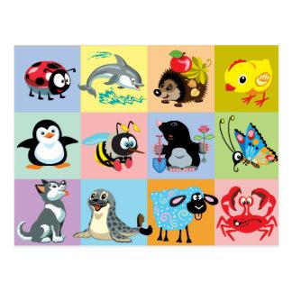 Postal animales del dibujo animado para los niños