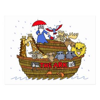 Postal Animales dos por dos en la arca de Noah