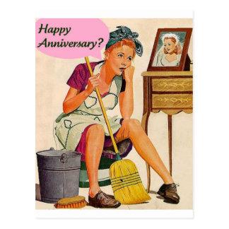 Postal Aniversario retro del ama de casa