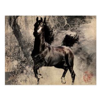 Postal Año del caballo 2014 - arte de la pintura china