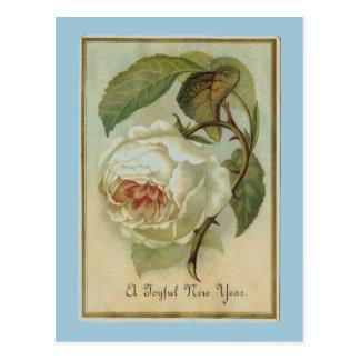 Postal Año Nuevo de la flor del vintage